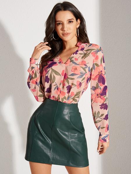 YOINS Pink Floral Print Blouse