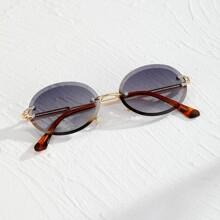 Guys Oval Rimless Sunglasses