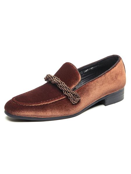 Milanoo Mocasines para hombre Zapatos de vestir de cuero PU con punta redonda y terciopelo con correa de monje sin cordones