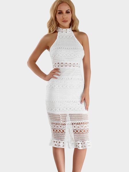 Yoins White Lace Hollow Design Halter Sleeveless Midi Dress