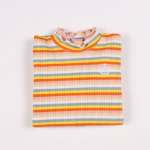 Girls Rainbow Striped Lettuce Trim Embroidery Ribbed Tee