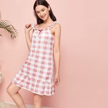Ruffle Gingham Cami Dress
