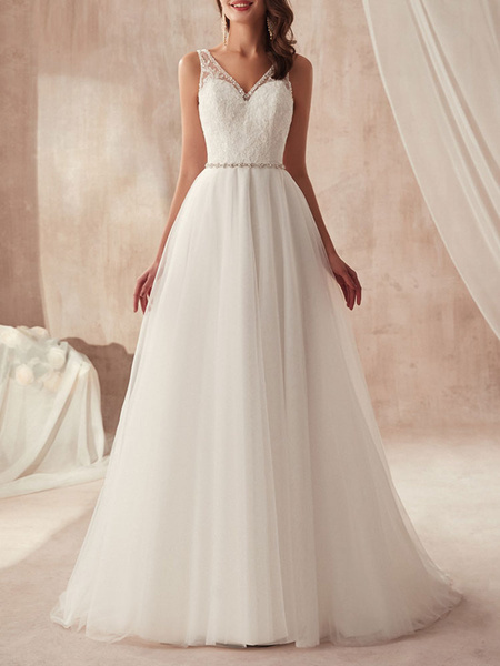 Milanoo Simple Wedding Dress A Line V Neck Sleeveless Tulle Floor Length Sash Bridal Gowns
