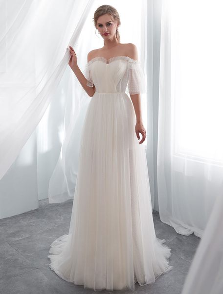 Milanoo Ivory Wedding Dresses Off Shoulder Half Sleeve Tulle Beach Bridal Dress With Train