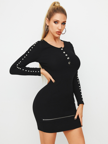 YOINS Black Front Button Pearl Details Round Neck Long Sleeves Dress