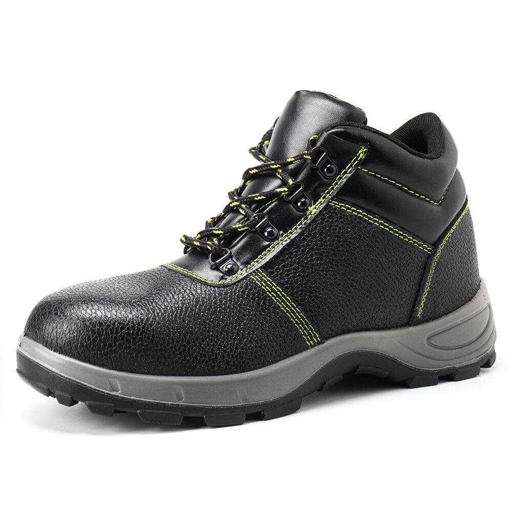 Men Leather Steel Toe Non Slip Shock Absorption Casual Safety Shoes
