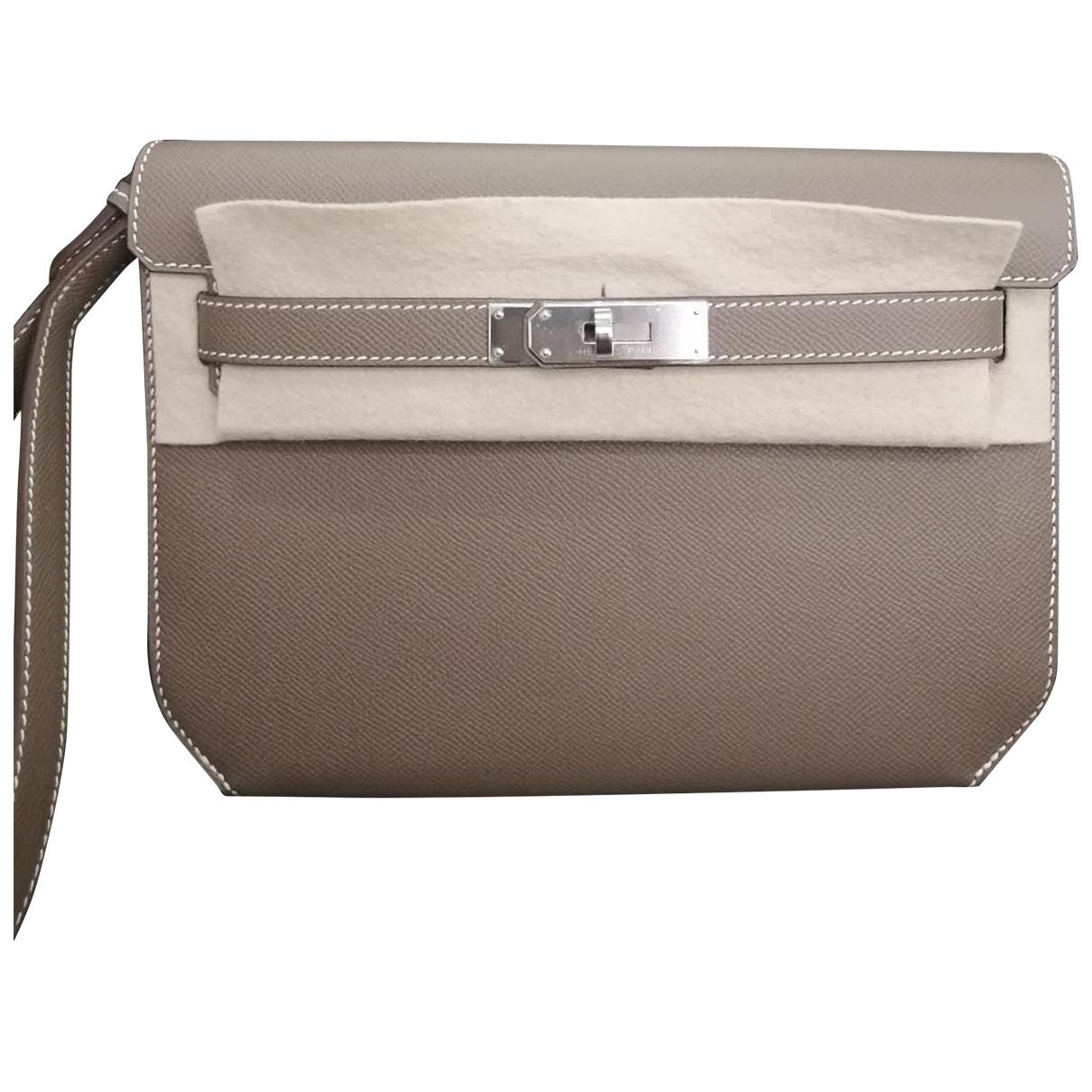 Hermes - Pochette Kelly Depeches pour femme en cuir - gris