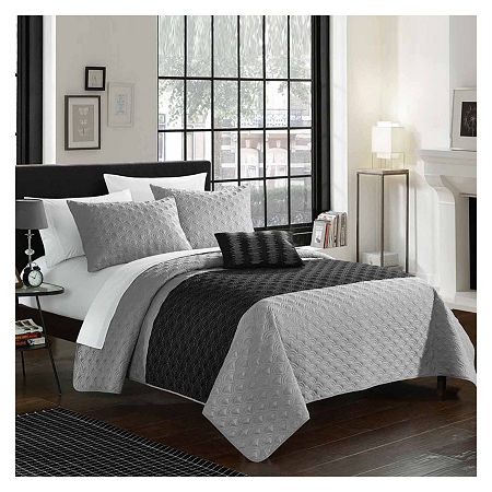 Chic Home Dominic 8-pc. Embroidered Quilt Set, One Size , Gray