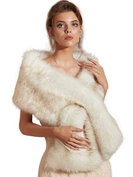 Milanoo Wedding Faux Fur Wrap Winter Shawl Scarves