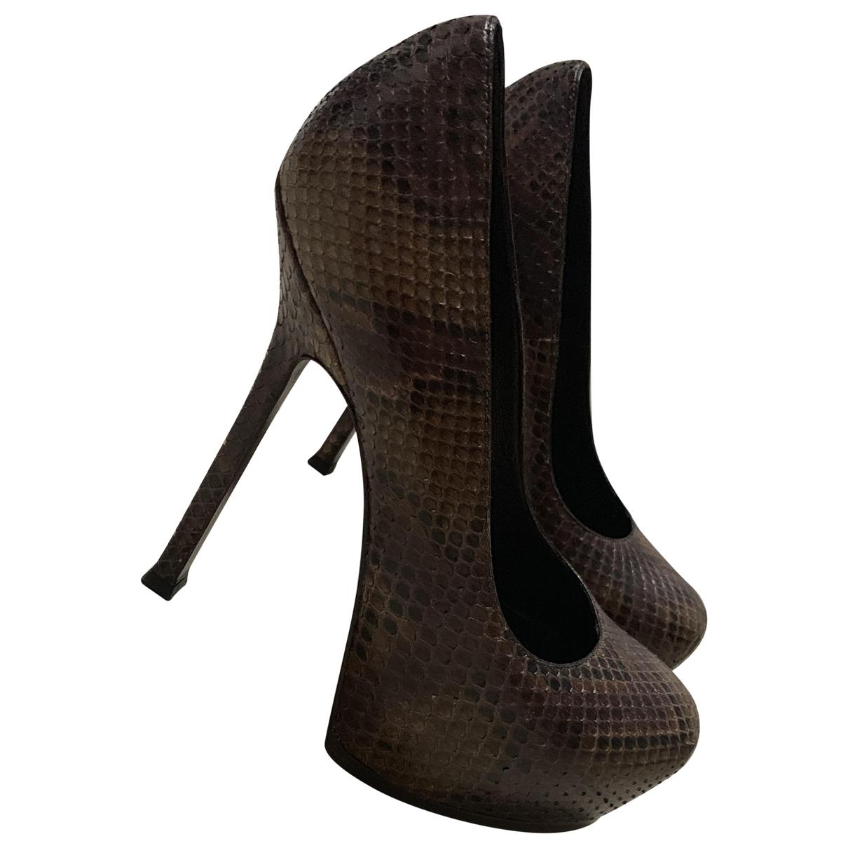Yves Saint Laurent - Escarpins Trib Too pour femme en python - marron