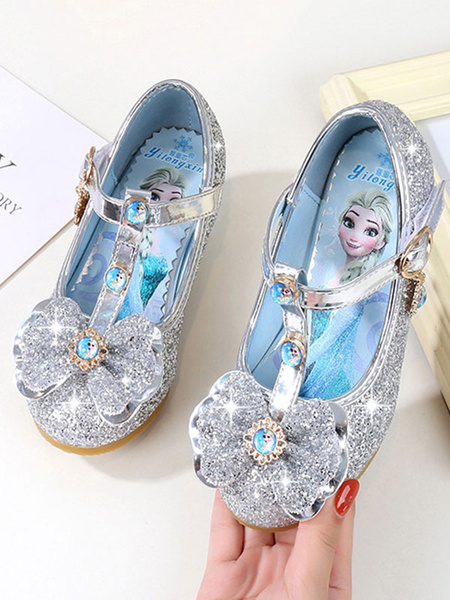 Milanoo Kids Party Shoes Glitter Round Toe Bow T Type Buckle Detail Flower Girl Shoes