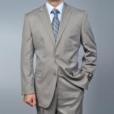 2 Button Sand Twillpattern Suit Mens Cheap