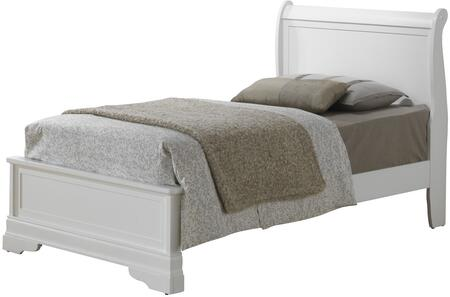Louis Phillipe Collection G3190E-TB3 Twin Size Bed with Front Bracket Feet and Wood Veneer Construction in White