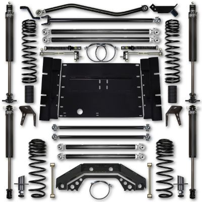 Rock Krawler TJ 4.5 Inch X Factor 5 Inch Stretch Stage 1 Long Arm Lift Kit with 2.25 RRD Shocks - TJ45XFLA-5S01S1