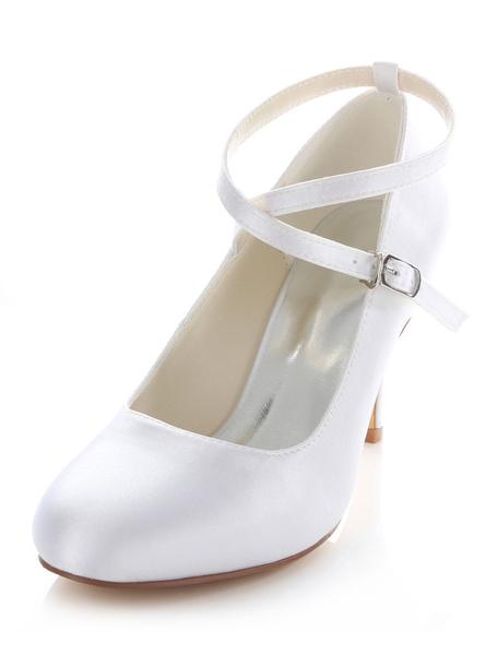 Milanoo White Bridal Pumps Cross Straps Satin Wedding Heels for Women