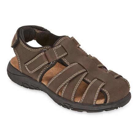 Arizona Boys Felix Jr Adjustable Strap Flat Sandals, 4 Medium, Brown