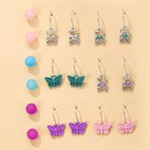9pairs Butterfly Charm Earrings