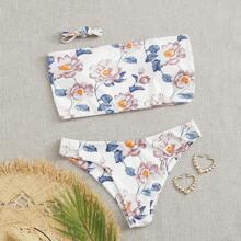 Gerippter Bandeau Bikini Badeanzug mit Blumen Muster