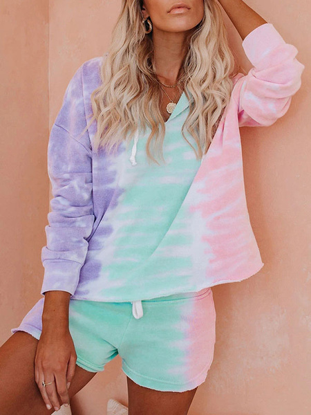 Milanoo Two Piece Sets Lilac Hooded Tie Dye Drawstring Long Sleeves Sweatshirt With Shorts