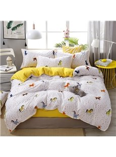 Colorful Ponies Cartoon Bedding for Boys Soft 4-Piece Polyester Bedding Sets/Duvet Covers