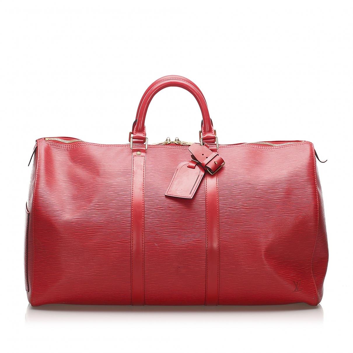 Louis Vuitton - Sac de voyage Keepall pour femme en cuir - rouge