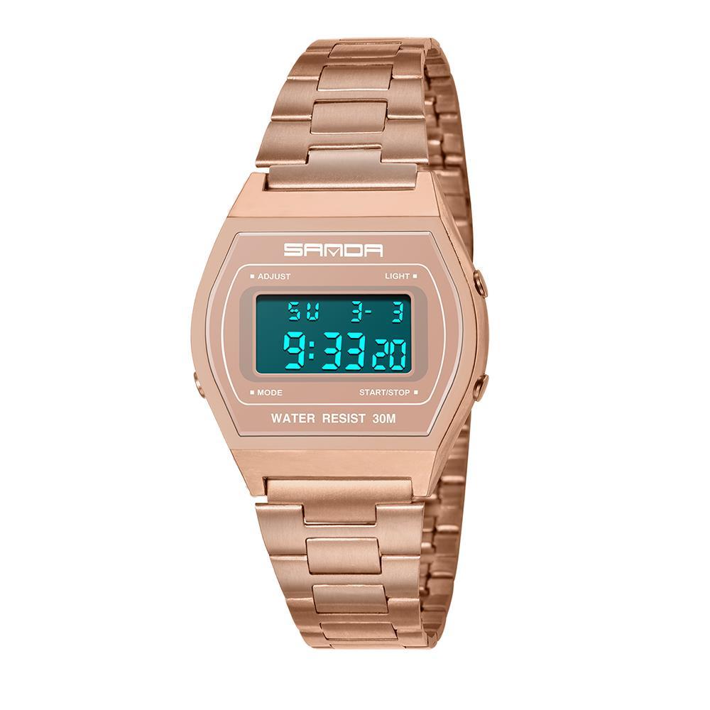 Trendy Digital Waterproof WristWatch Oval Dial Multifunctional Luminous Watch for Men