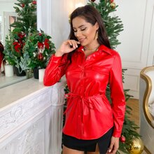 D&M Neon Red Button Front Belted PU Leather Top