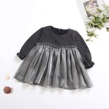 Toddler Girls Flounce Sleeve Frill Trim Babydoll Dress