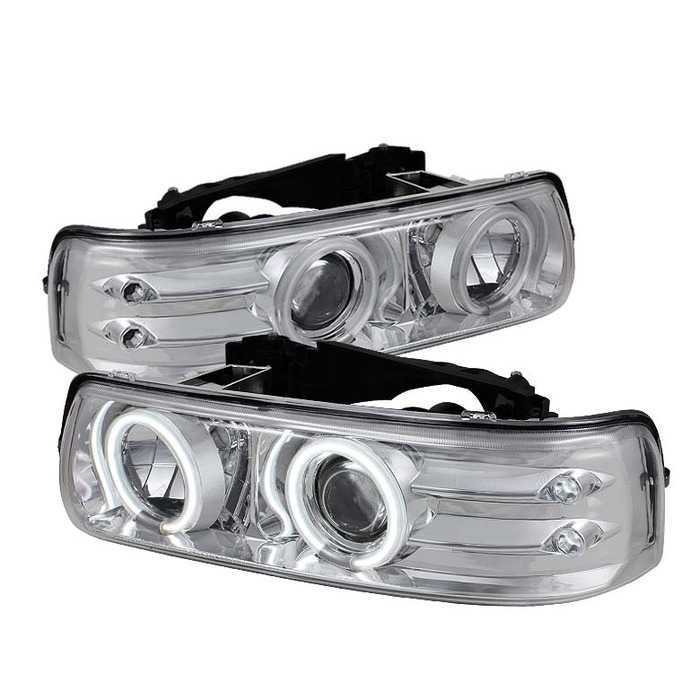 Spyder Auto PRO-YD-CS99-CCFL-C Chrome CCFL Halo Projector Headlights with Low H1 Lights Included Chevrolet Tahoe 00-06