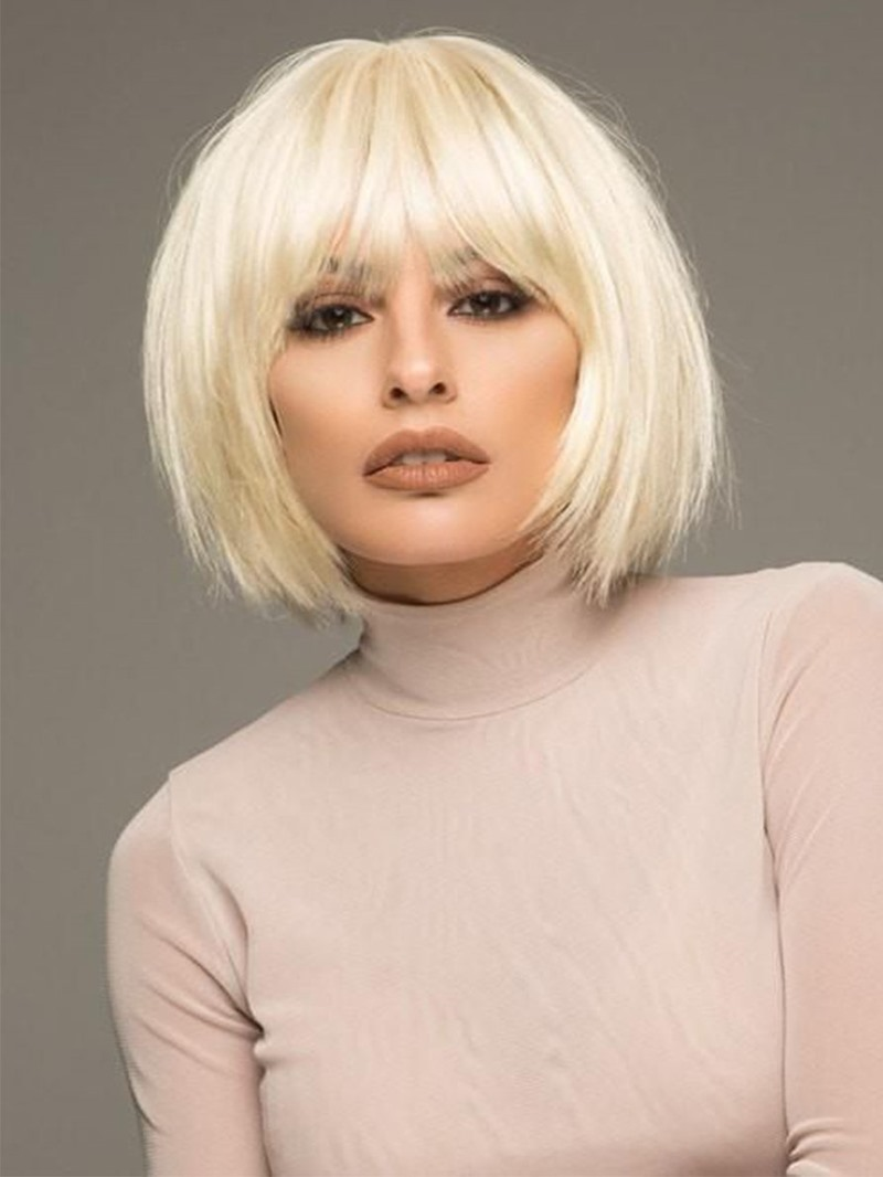 Ericdress Short Bob Hairstyle Womens 613 Blonde Straight Human Hair Lace Front Wigs With Bangs 10Inch