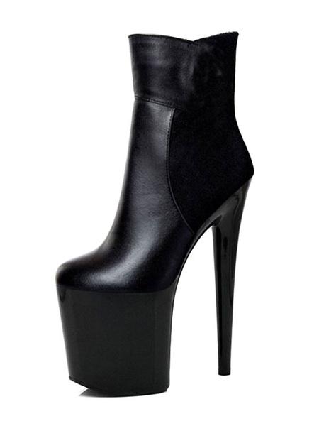 Milanoo Botas Sexy para mujer Plataformas Negras Almendra Leopardo Stiletto Heel Botines Botines de tacon alto