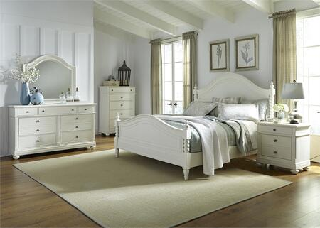 Harbor View II Collection 631-BR-QPSDMCN 5-Piece Bedroom Set with Queen Poster Bed  Dresser  Mirror  Chest and Night Stand in Linen