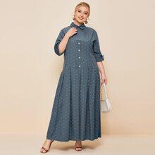 Maxi Kleid mit Knopfen vorn und Muster