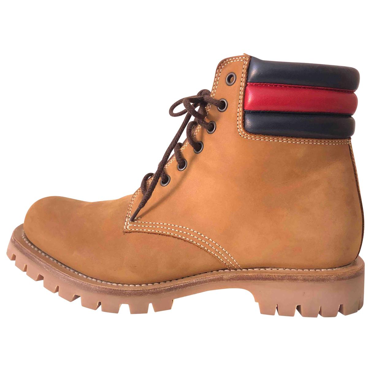 Gucci - Boots   pour femme en suede - camel