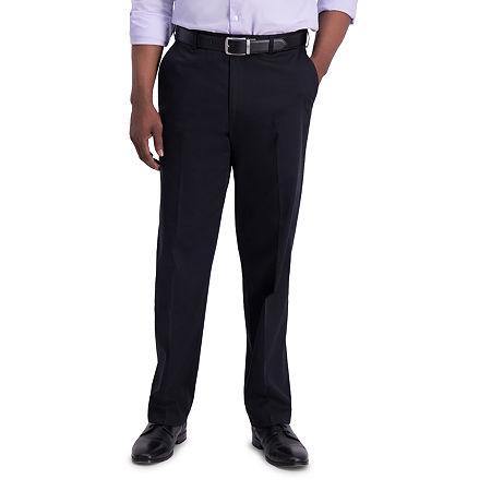 Haggar  Iron Free Premium Khaki Classic Fit Flat Front Pants, 34 31, Black