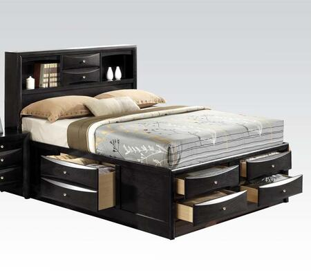 Ireland Collection 21606EK King Size Bed with Storage Drawers  Storage Bookcase  Brushed Nickel Hardware  Rubberwood and Okume Veneer Materials in