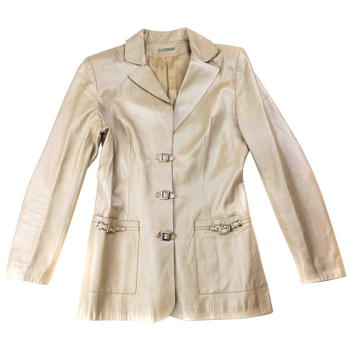 Non Signe / Unsigned Epaulettes Jacke in  Beige Leder