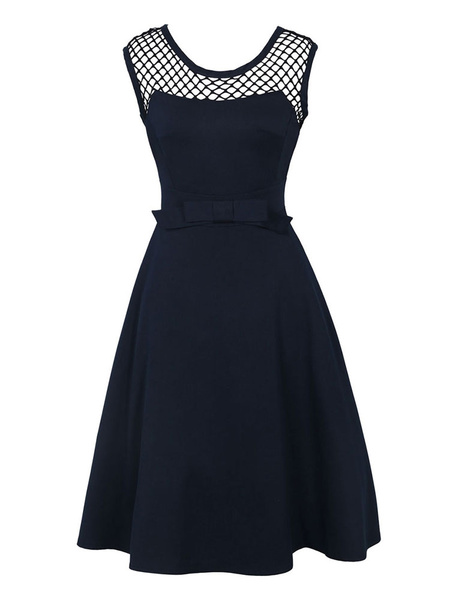 Milanoo Black Vintage Dress Round Neck Sleeveless Net A Line Dresses For Women