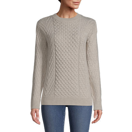 St. John's Bay Womens Crew Neck Pullover Sweater, Petite X-small , Beige
