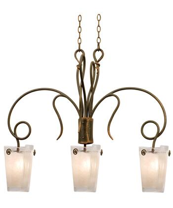 Tribecca 4300AC/ANTQ 3-Light Island in Antique Copper with Small Antique Filigree Side Glass