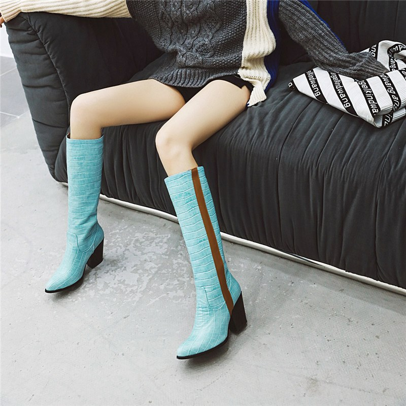 Ericdress Pointed Toe Chunky Heel Color Block Women's Knee High Boots