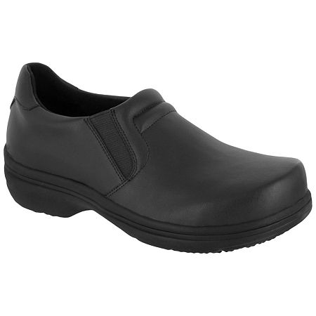 Easy Works By Easy Street Womens Round Toe Bind Clogs, 7 1/2 Extra Wide, Black