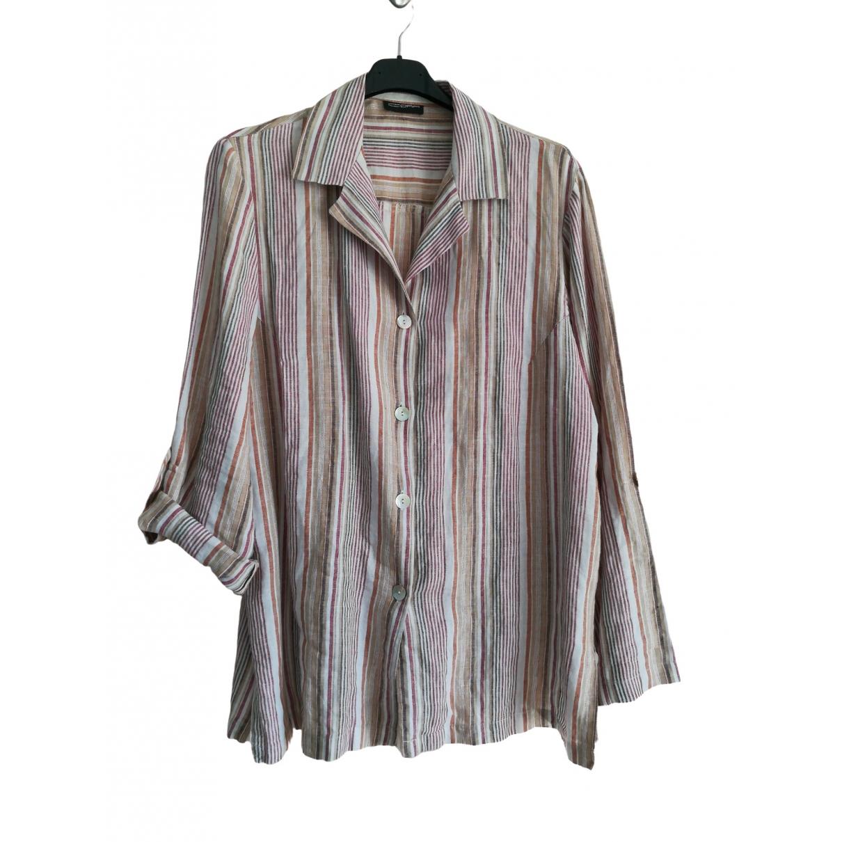 Non Signé / Unsigned Oversize Beige Linen  top for Women L International