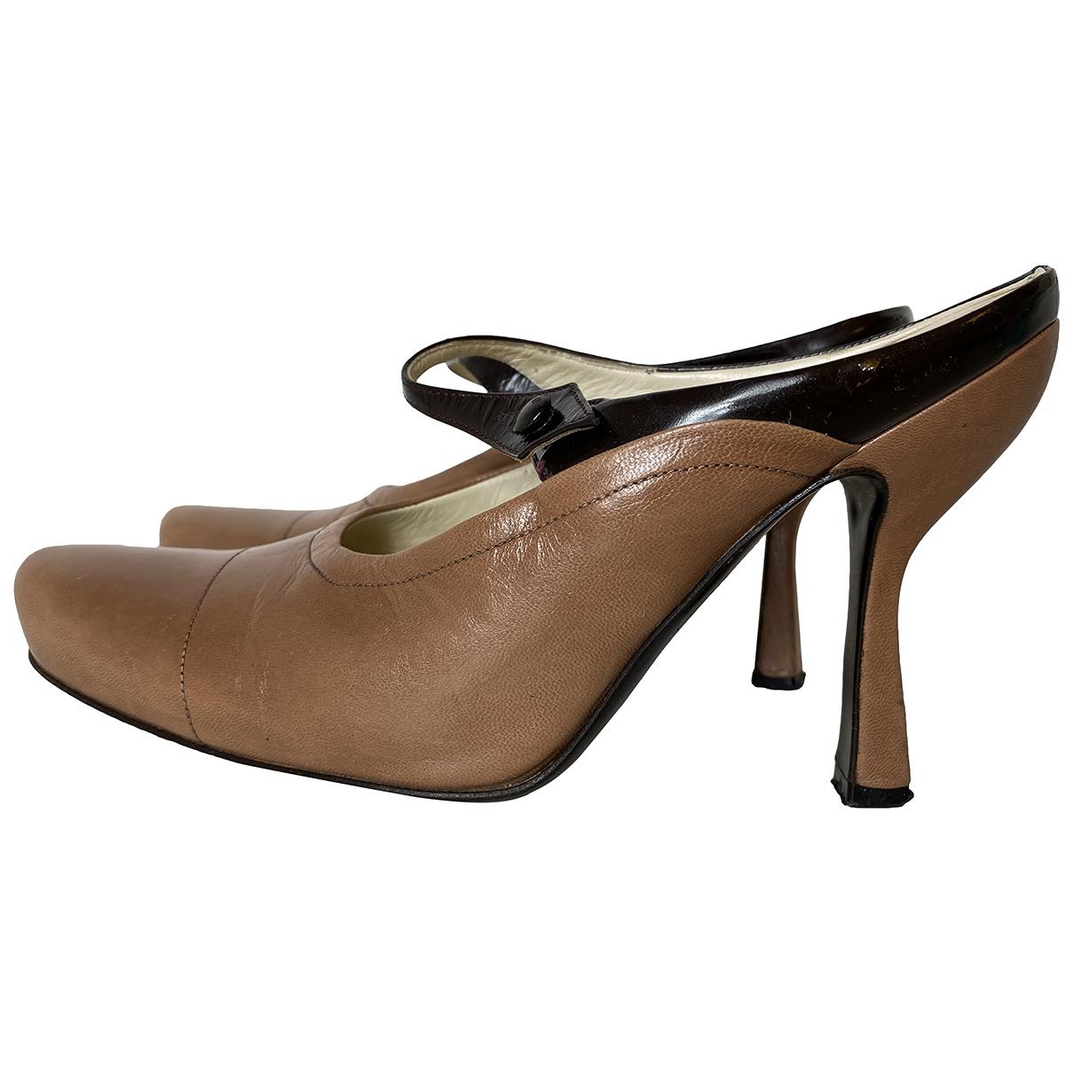 Prada N Brown Leather Heels for Women 36 IT