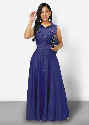 Cocktail Party Dress Button Up Side Pocket Turndown Collar Denim Dress - XS