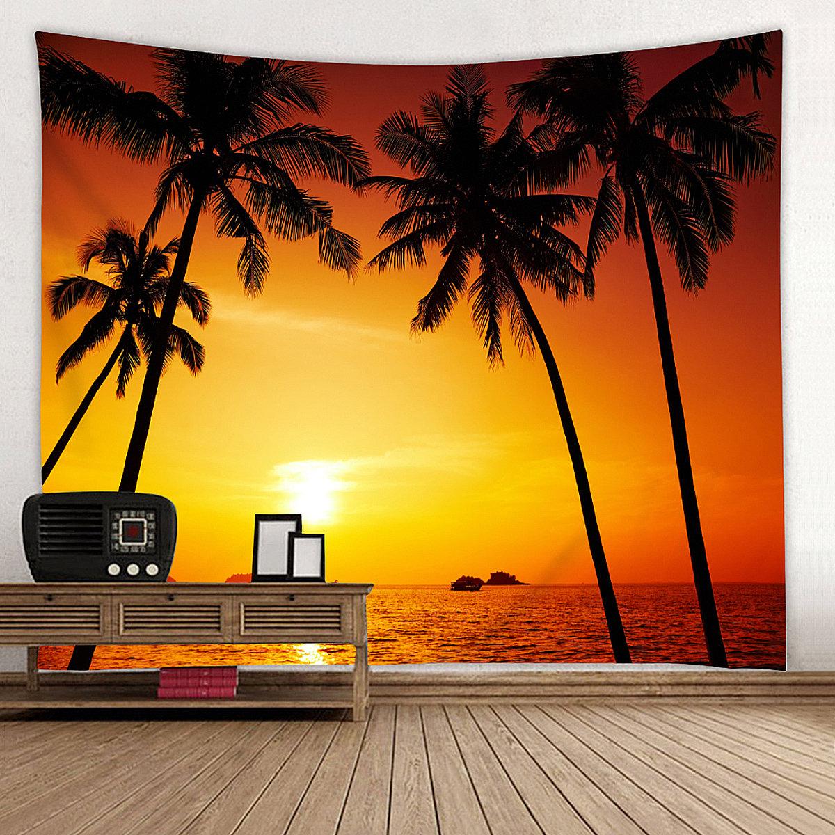 150*130cm/150*210cm Sunset Beach Ocean Style Wall HomeHanging Tapestry Decor