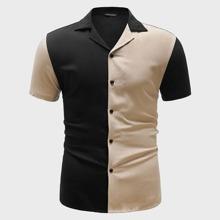 Men Notch Collar Two Tone Shirt