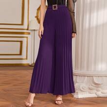 Pantalones anchos fruncido con cinturon con hebilla con diamante de imitacion
