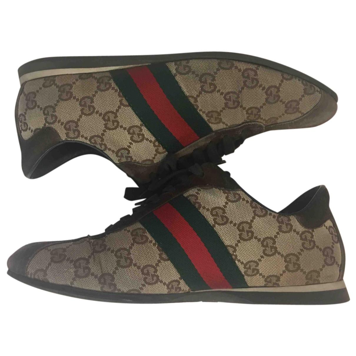 Gucci - Baskets   pour femme en toile - marron