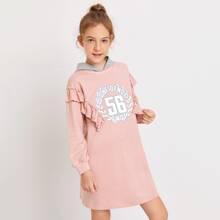 Girls Ruffle Trim Contrast Hooded Letter Graphic Sweatshirt Dress